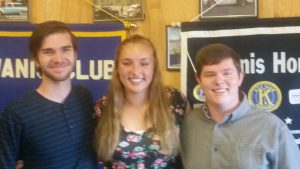 2016 scholarship recipients; Ethan Jones, Rachel Wingler and Jared Smith.