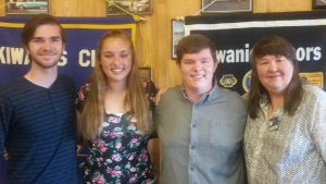 Ethan Jones, Rachel Wingler & Jarad Smith with Club Scholarship chairperson, Cherie Quartarolo.